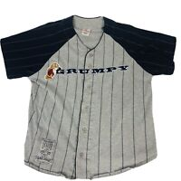 Disney Store Mens Grumpy Baseball Jersey Gray Pin Striped Button Shirt Size M