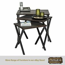 Nested Corner End Coffee Tables with Croc Patterned Steel Top Set of 3