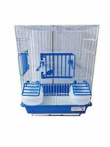 Gabbia per uccelli con accessori e fondo in plastica colore blu