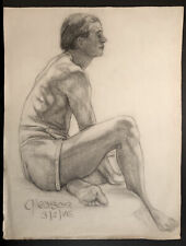 1946 Graphite on Paper Life Drawing, Young Man in Shorts Signed Gleason 25 x 19""