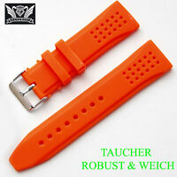 Silicona Pulsera de Reloj cavadini Calidad Superior en Bonito Naranja 24mm