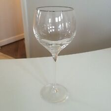 """Lenox Platinum Silver Rimmed 8.5"""" Wine Glass Goblet Tall NEW UNUSED Fine China"""