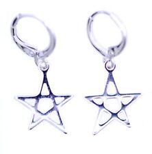Silver tone hanging star hoop earrings
