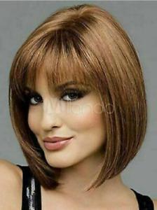 100% Human Hair New Fashion Elegant Women's Short Natural Brown Straight Wigs