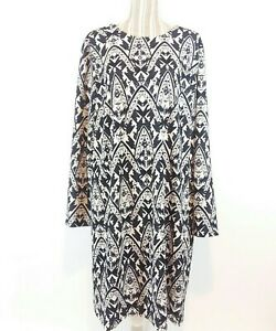 Cato Size 22/24W Black White Long Sleeve Lined Career Church Teacher Shift Dress