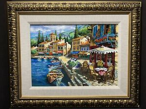 Anatoly Metlan Serigtaph W/ Acrylic Painting On Linen Framed Hand Signed COA