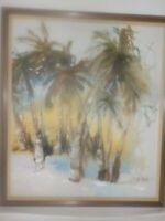 """Audree Sells Minnesota Artist Florida Pam Trees Oil Painting Framed 27"""" x 31"""""""