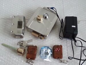 NSEE Stainless Steel Electric Gate Door Lock 2 Remote Control 12V DC Transformer