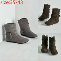 Womens Fashion Suede Short Boots Thick Casual Pumps Plush Flat Ankle Shoes