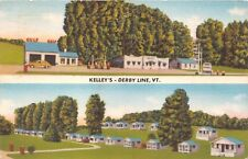DERBY LINE VERMONT~KELLEY'S CRYSTAL BROOK FARM~CABINS-GAS-MEALS POSTCARD c1957