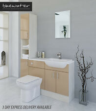 CAPPUCCINO / WHITE AVOLA BATHROOM FITTED FURNITURE 1400MM WITH TALL UNIT