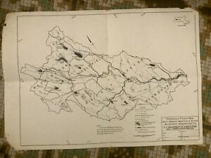 """Vintage West Branch Watershed Map of  Westfield River 1964 11"""" X 14"""""""