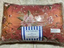 Pine Cone Hill Beautiful 100% Silk Embroidered Floral Pillow ELAN SALMON New!