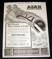 1918 OLD MAGAZINE PRINT AD, AJAX ROAD KING CAR TIRE, MORE STRENGTH WHERE NEEDED!