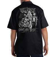 Dickies Black Mechanic Work Shirt Full Service Biker Motorcycle Pin Up Girl