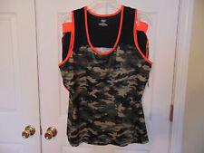 WOMENS Tank Top Shorts 2 PC Set size 1x Orange Black camouflage camo Fitness Fun