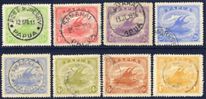 PAPUA 1911-15 LAKATOI EIGHT DIFFERENT VALUES TO 1/- GOOD TO SUPERB CDS USED
