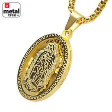 "Stainless Steel Oval Virgin Mary Guadalupe 3D Pendant 24"" Box Chain SCP 150 G"