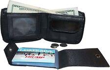 New Zip around man's Leather wallet change purse mini photo holder ID window bn