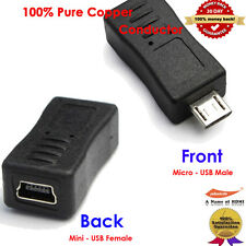 Black Mini USB to Micro USB charger Converter Adapter for Samsung S3 i9300