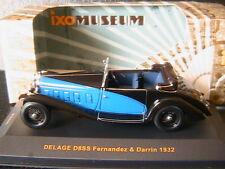 DELAGE D8SS FERNANDEZ DARRIN 1932 BLACK & BLUE IXO MUSEUM MUS046 1/43 ROADSTER