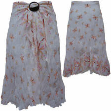 Ladies Hippy Hippie Boho Gypsy Buckle Skirt - White with Pink Dragonfly Print