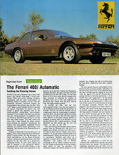 Ferrari 400i Automatic c 1979 UK Market Road Test Brochure Motor Sport