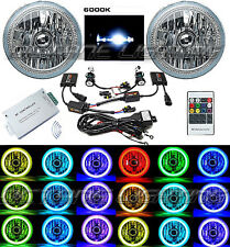 "7"" RGB SMD Multi-Color White Red Blue Green LED Halo Angel Eye 6K HID Headlights"