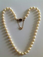Finest Quality Vintage Uniform Rope Of Cultured Pearls On Garnet & Pearl Clasp