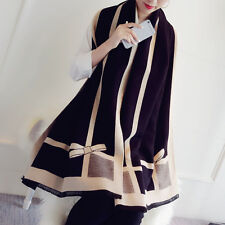 Women Winter Elegant Long Cashmere Bow Plaid Warm Scarf Wrap Shawl Scarves US