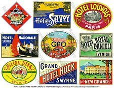 9 LUGGAGE STICKERS, 1 Sheet, Hotel Label REPRODUCTIONS for Travel Journal Decor