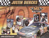 2007 Justin Diercks signed ML Motorsports Chevy Monte Carlo NASCAR postcard