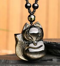 Natural Gold Obsidian Carved Cute Fox Lucky Amulet Pendant + Free Beads Necklace