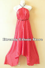 Clearance Polka Dot Red & White Silk Multi Scarf  Maxi Halter Dress Maternity