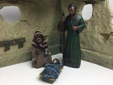 MAHOGANY MIRACLE African Nativity Holy Family & Crèche 4 Pieces ~ RARE