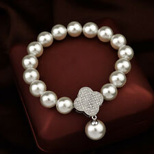 ITALINA 18K WHITE GOLD PLATED & GENUINE AUSTRIAN CRYSTAL &  WHITE PEARL BRACELET