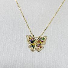 "Beautiful "" Effy "" Watercolors Collection 14k Gold Sapphires & Diamond Pendant"