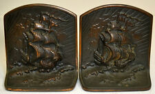 BRONZED CAST IRON SHIP BOOKENDS PAIR c1920 VINTAGE STURDY