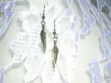 SIMPLE BIRD FEATHER - EAGLE FEATHER WIND SPIRIT PEWTER CHARM EARRINGS JEWELRY