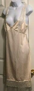 Bali Size 34 Vintage Slip Dress Length Lingerie  Nude Lace Satin