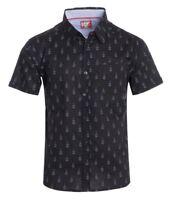 New Mens ID Extra Slim Short Sleeve Button Up Black Shirt Gray Guitar Polka Dot
