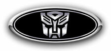 NEW! Fits various Ford Models Autobot Black/Chrome Logo Overlay Decals 3PC Kit!