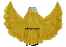 Golden Cotton Gypsy Skirt 25 Yard 4 Tiered Tribal Belly Dance Flamenco Jupe New