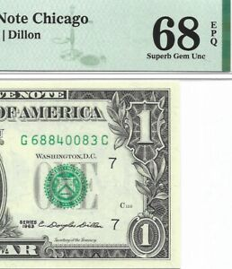 1963 $1 CHICAGO FRN, PMG SUPERB GEM UNCIRCULATED 68 EPQ BANKNOTE, RARE G/C BLOCK