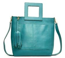 Women's Genuine Leather Shoulder Bag Square Removable Handle Handmade Turquoise