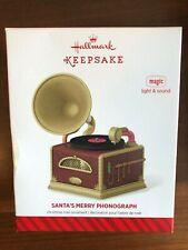 HALLMARK 2014 SANTA'S MERRY PHONOGRAPH LIGHT SOUND ORNAMENT