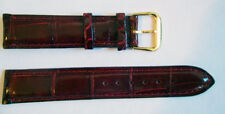 Genuine ALLIGATOR watch band Bordeaux color 19 mm Shiny & Padded* Made in ITALY