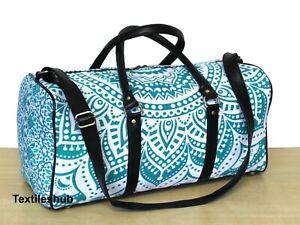 Indian Green & White Ombre Mandala Hippie Cotton Unisex Multipurpose Duffel Bags