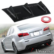 "14""x6"" Black 3 Fin Shark Rear Bumper Lip Chassis Diffuser Spoiler Anti-Collision"