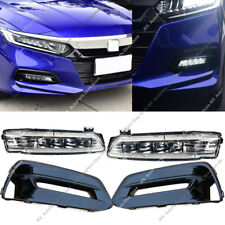 Black Front Bumper Bezels Fog Driving LED Lights OEM For Honda Accord 2018 2019